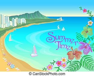 Hawaii ocean bay blue water sunny sky summer travel vacation background. Boats sand beach flowers umbrellas hot day scene landscape view vector illustration
