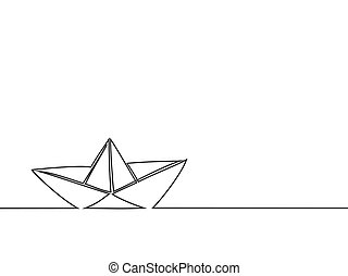 Continuous line drawing of paper boat. Vector business icon...