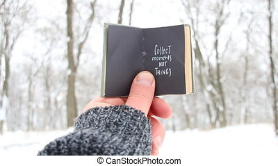 Collect moments not things. Winter Travel idea. Book and...