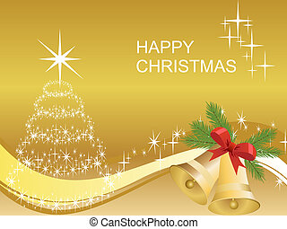 christmas decoration - vector illustration of golden bells...
