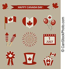 Happy Canada Day icon set, design elements, vintage style. July 1 National Day of Canada holiday collection of objects with firework, flag, hat, balloons, emblem. Vector illustration.