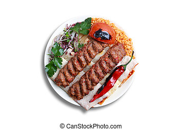 Adana kebabi, male lamb meat, red bell peppers and tail fat...