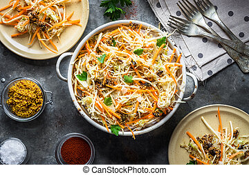Salad with cabbage, carrots and seeds