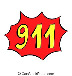 Emergency 911 icon, icon cartoon - Emergency 911 icon in...