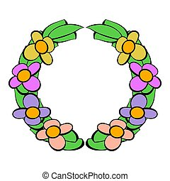 Memorial wreath of flowers icon, icon cartoon - Memorial...