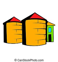 Granaries for storing, icon cartoon - Granaries for storing...