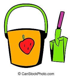 Bucket and shovel for childrens sandbox icon in icon in...