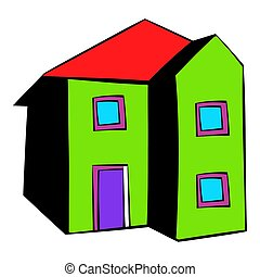 Two-storey house icon, icon cartoon - Two-storey house icon...