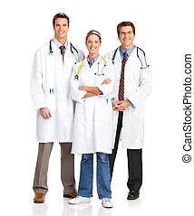 doctors - Smiling medical people with stethoscopes. Doctors...
