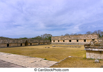 Ruins in Uxmal Known as the Nunnery - Courtyard of old Mayan...