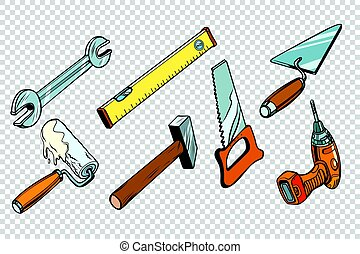 Set repair tools, isolated background. wrench paint roller...