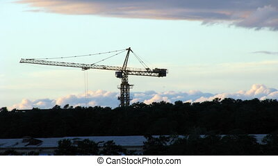 HD Tower crane at sunset timelapse