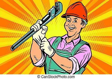 Construction worker with adjustable wrench - Construction...