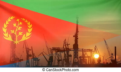 Industrial concept with Eritrea flag at sunset - Industrial...