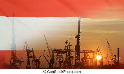 Industrial concept with Austria flag at sunset, silhouette...