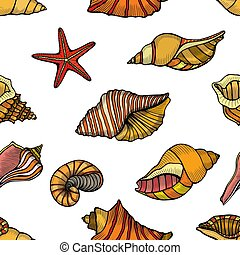 Seamless pattern of seashells. - Hand drawn vector...