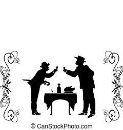 XIX century - 5 - Two men in suits of XIX century have...