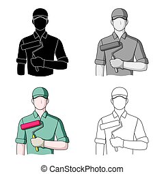 Painter.Professions single icon in cartoon style vector...