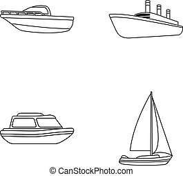 Protection boat, lifeboat, cargo steamer, sports yacht.Ships and water transport set collection icons in monocrome style vector symbol stock illustration web.