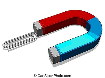 magnet blue and red color on white background