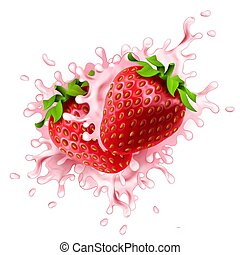 Realistic strawberries with rose colored yoghurt splashes