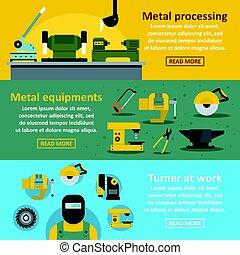Metal working banner horizontal set, flat style - Metal...