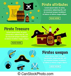 Pirate attribute banner horizontal set, flat style