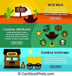 Wild west banner horizontal set, flat style
