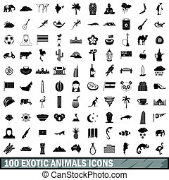 100 exotic animals icons set, simple style