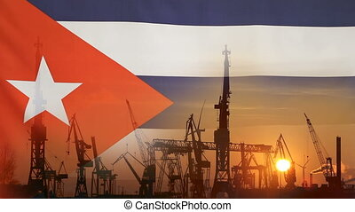 Industrial concept with Cuba flag at sunset, silhouette of...