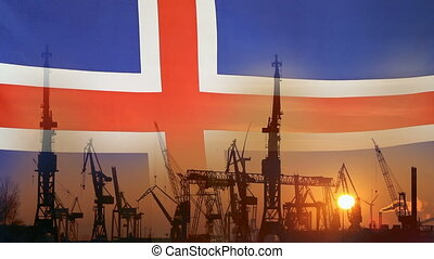 Industrial concept with Iceland flag at sunset, silhouette...