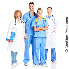 Smiling medical nurse with stethoscope Isolated over white...