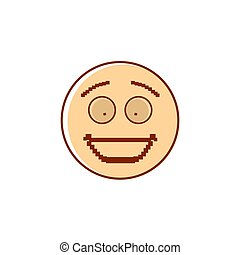 Smiling Cartoon Face Positive People Emotion Icon Vector...