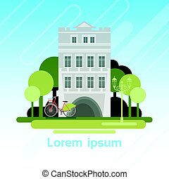 Cartoon House Building Cottage Real Estate Old Town Flat...