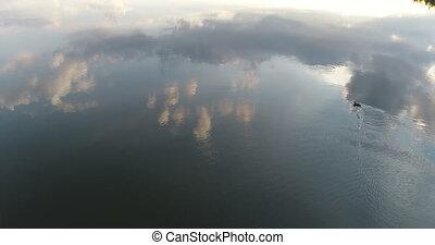 Sunset lake drone reflection - Sunset on a lake mirorr...