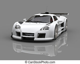 White supercar on reflective background