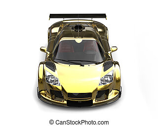 Beautiful golden supercar - top  down view