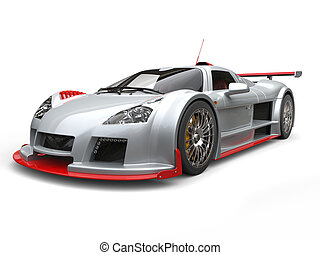 Silver racing supercar with red details