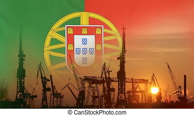 Industrial concept with Portugal flag at sunset