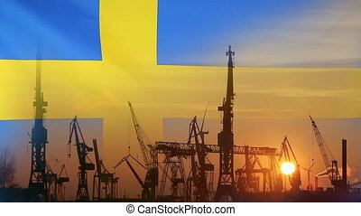 Industrial concept with Sweden flag at sunset, silhouette of...