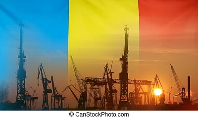 Industrial concept with Romania flag at sunset