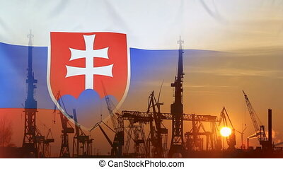 Industrial concept with Slovakia flag at sunset