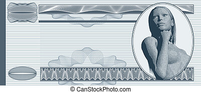 Blank banknote background with engraved female portrait
