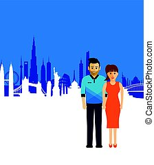 Couple on a cityscape background