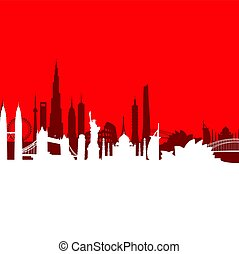 Red cityscape background