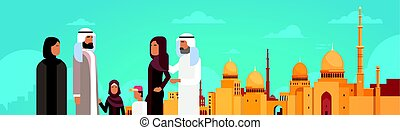 Arab Family Over Muslim Cityscape Nabawi Mosque Building...