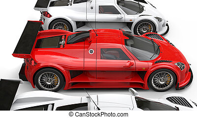 Awesome red supercar between white cars