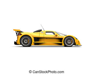 Bright yellow supercar - side view