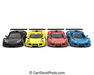 Row of supercars in red, yellow, blue and black