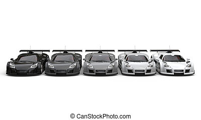 Supercars in shades of gray - front view